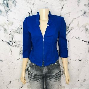 White House Black Market Royal Blue Zip Up Blazer